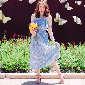 Dresses & Skirts - Blue Polka Dot Midi Dress